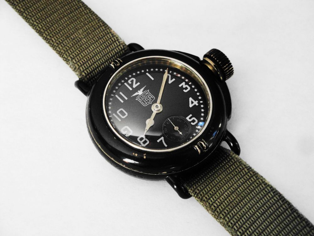 1918 WWI Elgin Depollier Waterproof Field & Marine Watch