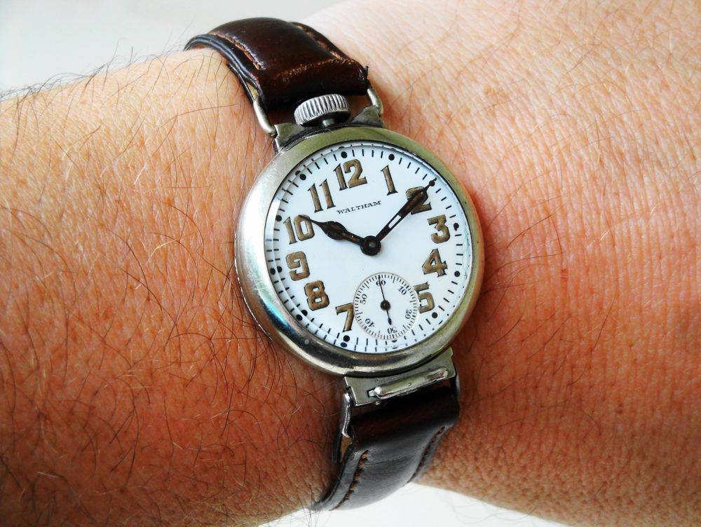 1917 WWI Waltham Depollier KHAKI Trench Watch, removable bottom lug