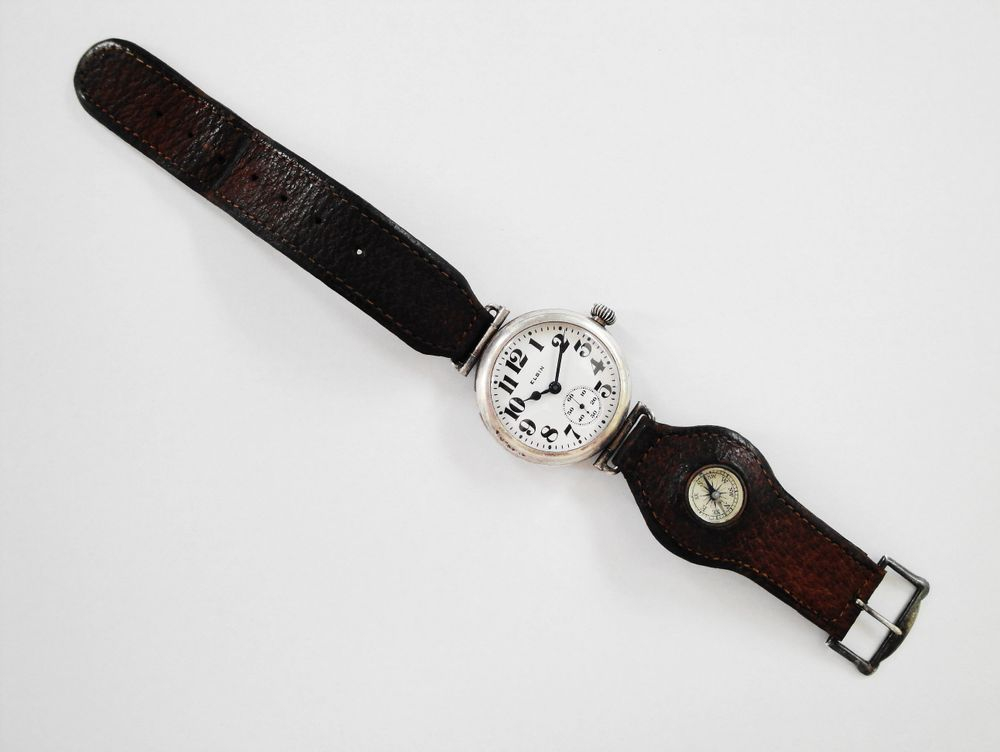 1917 WWI Elgin General Funston Trench Watch, Original Leather Compass Strap