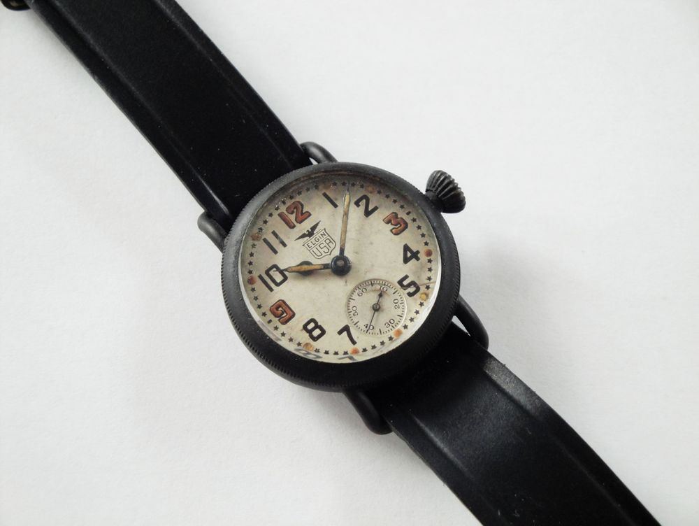 1918 WWI Elgin White Star Dial Trench Watch, US Army Issued