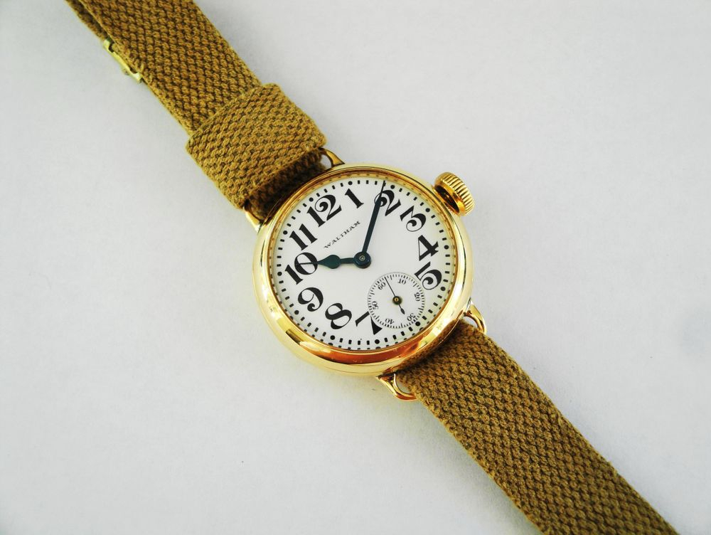 14k Solid Gold 1918 WWI Waltham Depollier KHAKI Trench Watch, Original Factory Strap