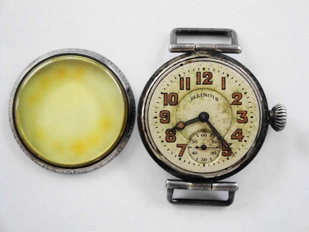 1918 WWI Illinois Trench Watch, French City Engraved