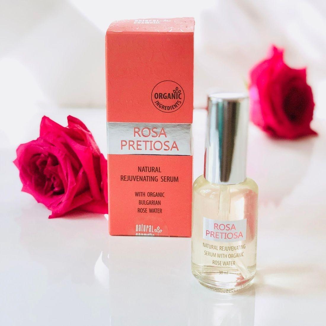 rosa pretiosa natural rejuvenating serum, rose serum, face serum, clean face serum, rose water serum, rosepostbox