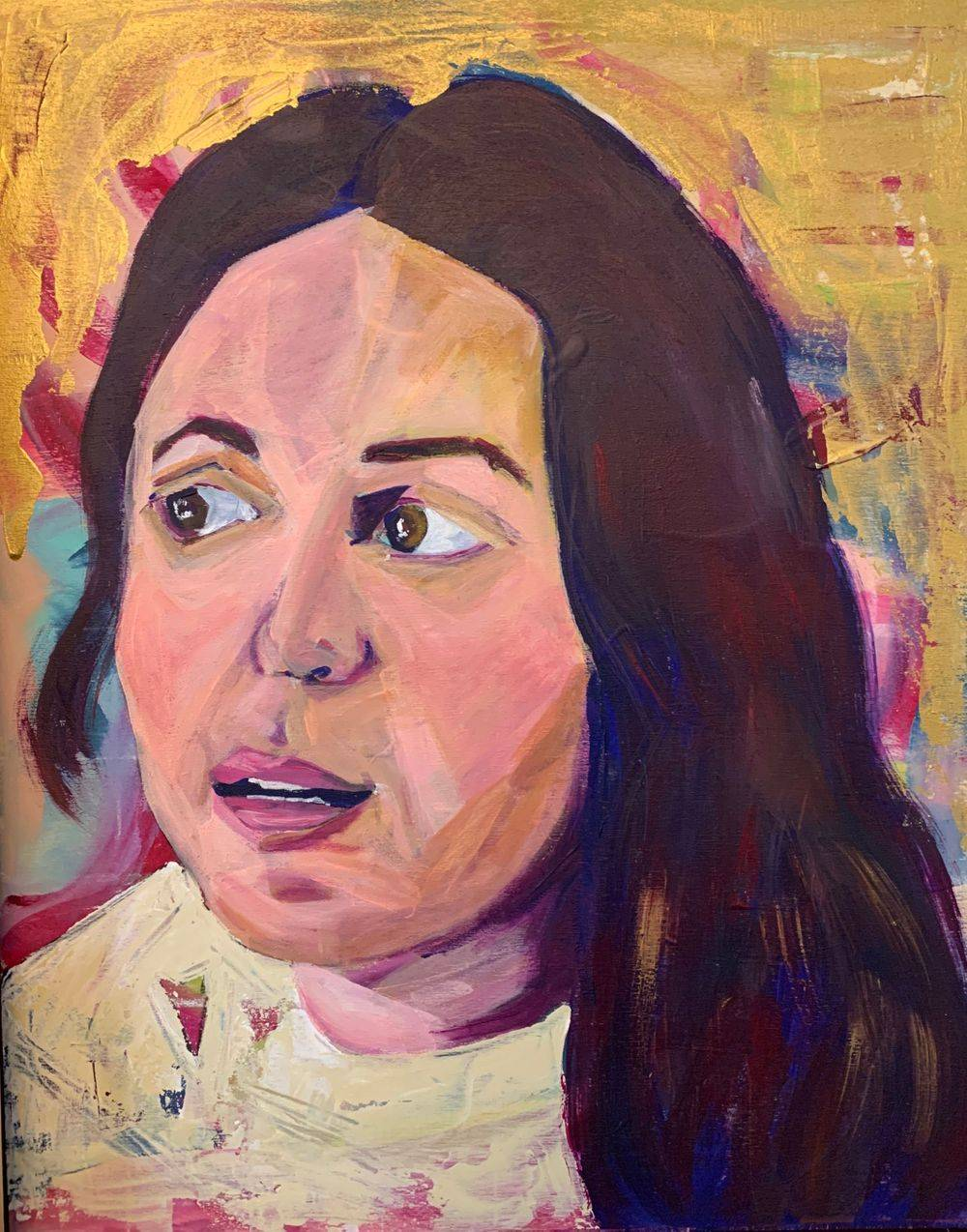 Colorful portrait of woman abstract expressionist painting