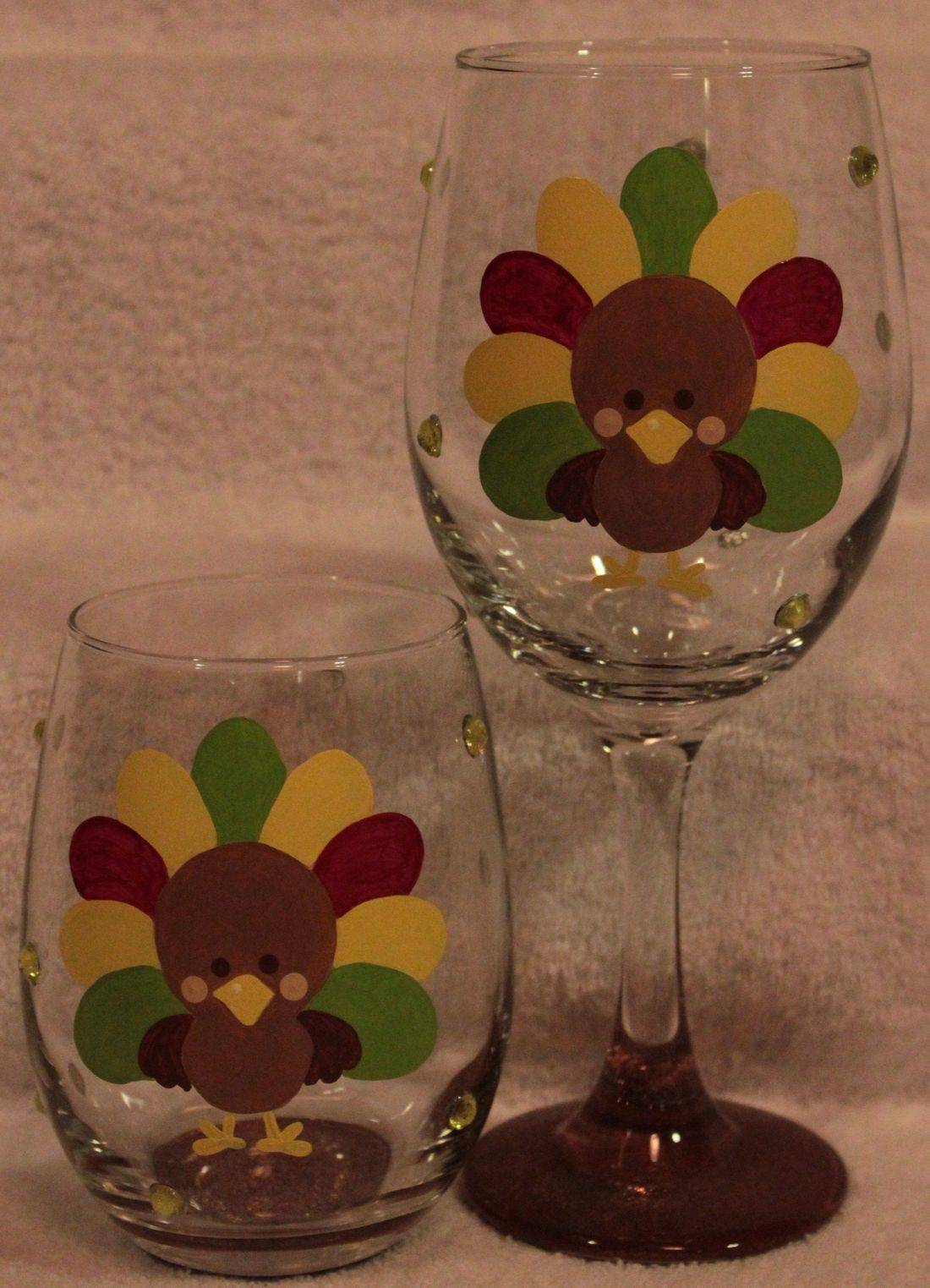 Turkey Wine Glass, hand painted fall wine glass
