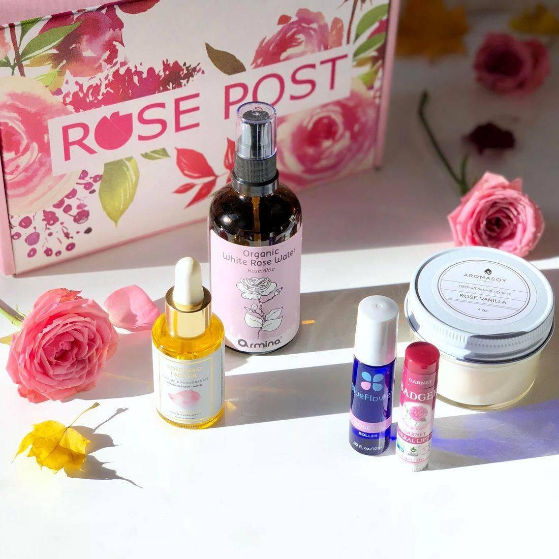 clean rose beauty, rose natural oil rose essential oil, rosepost box, rose-infused skincare
