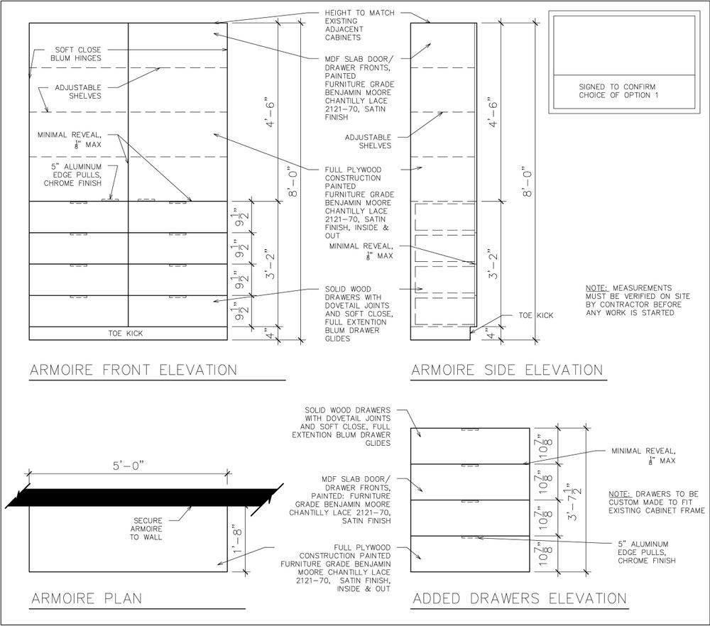 Custom millwork, interior design, drafting