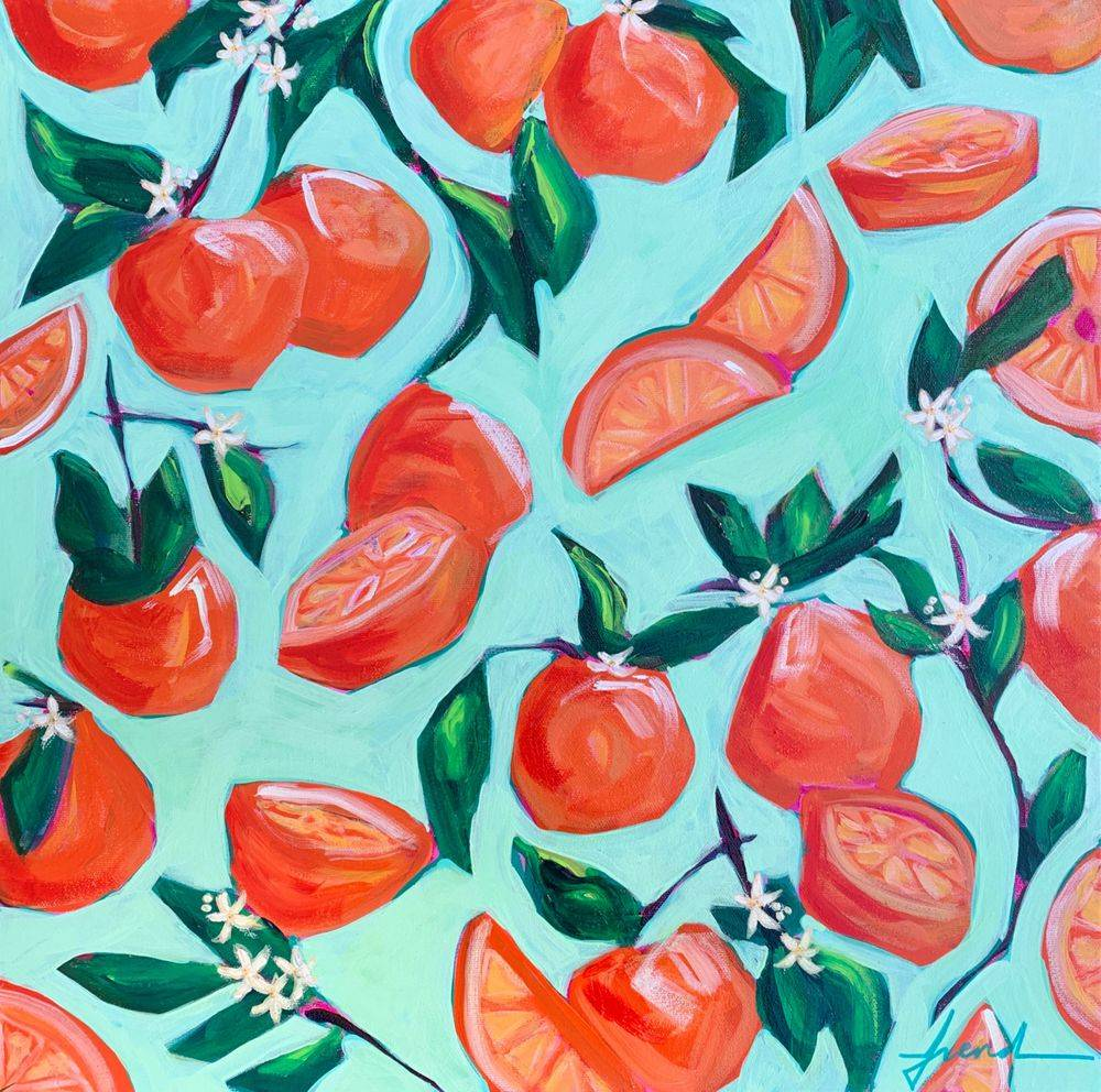 Colorful artwork vintage kitchen Florida Oranges