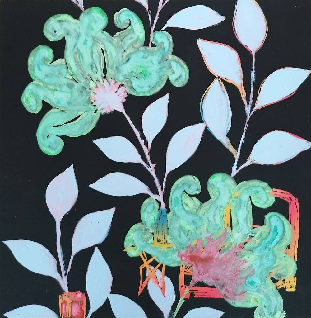 Aquarelle, Carte à gratter, Jardin