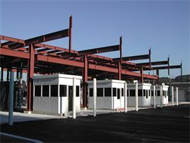 Welded steel fabrication: Fabricated steel prior to installation of sheet metal facade at storage tank facility