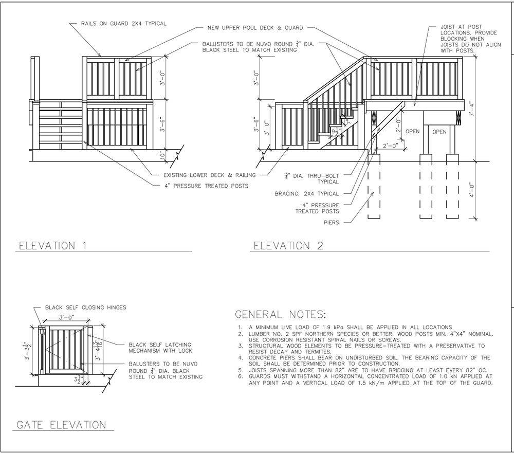 Elevations, drafting, construction drawings