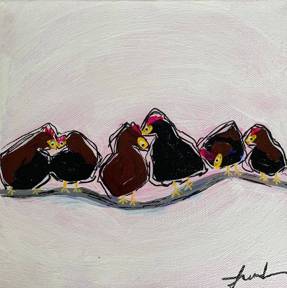 Expressionist farm art French hens chickens kitchen painting