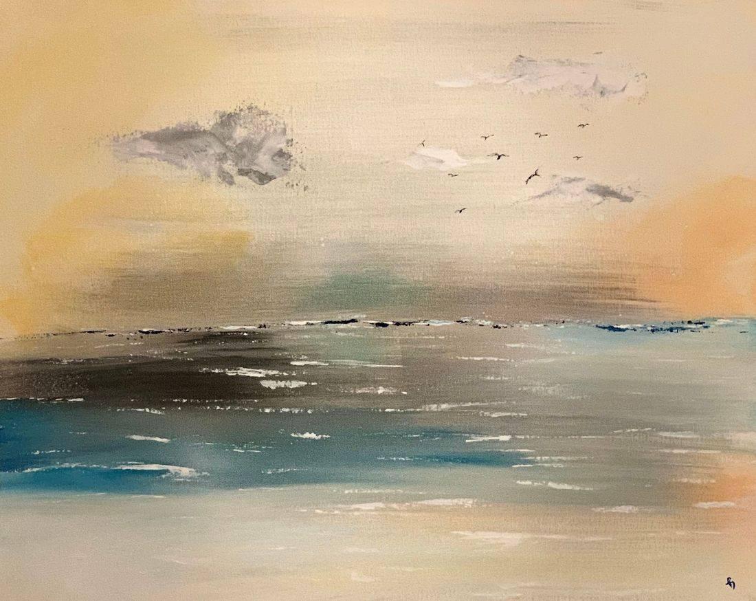 Drive In, ocean, water, seagulls, Oregon Artist, Abstract Artist, Local Artist, Hope Angel Fine Art