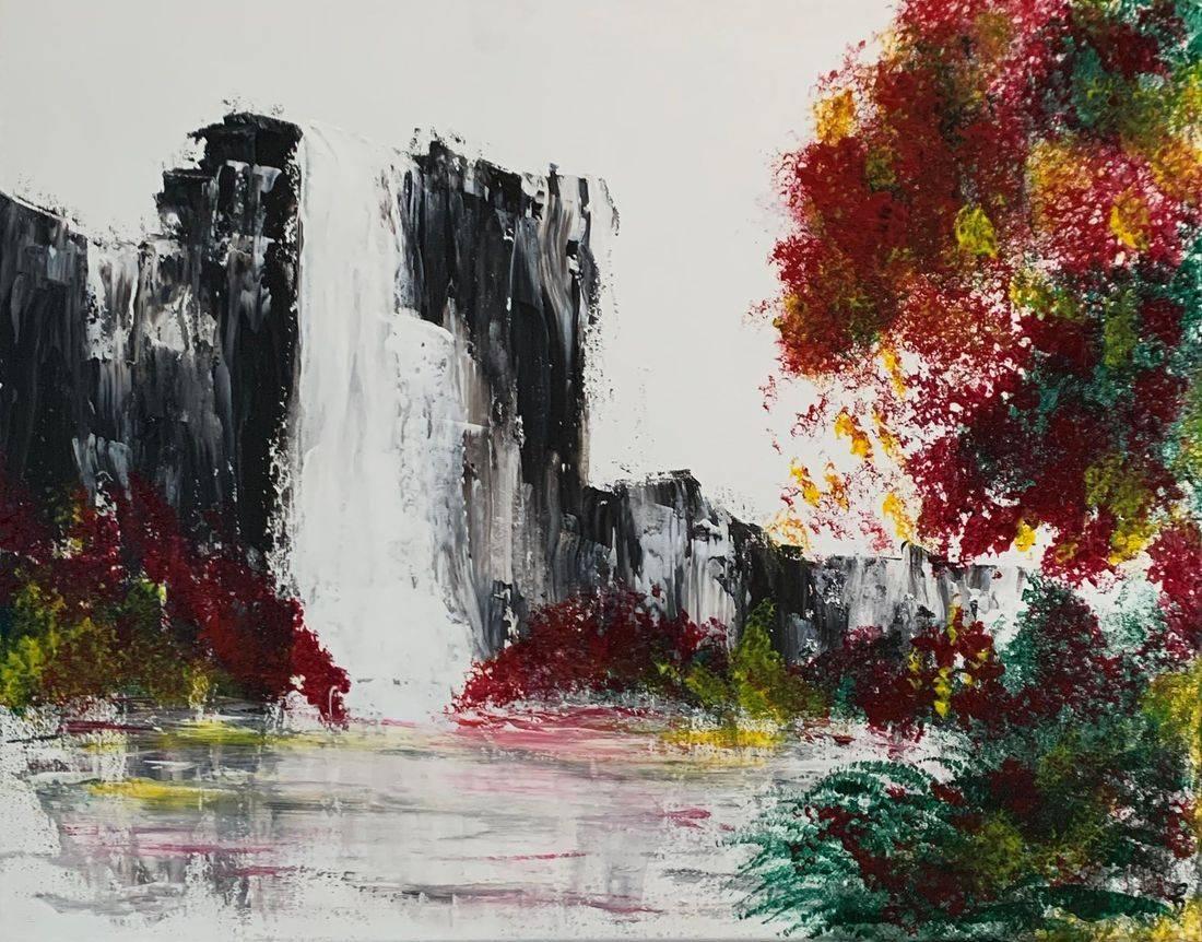 Waterfall, cliffs, red flowers, lake, reflection, Oregon Artist, Abstract Artist, Local Artist, Hope Angel Fine Art