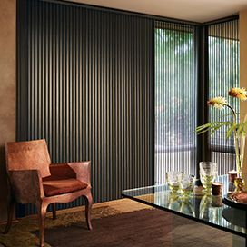 Hunter Douglas Duette Honeycomb blinds are available in a variety of fashionable fabrics and colors and are ideal for a vertical application.