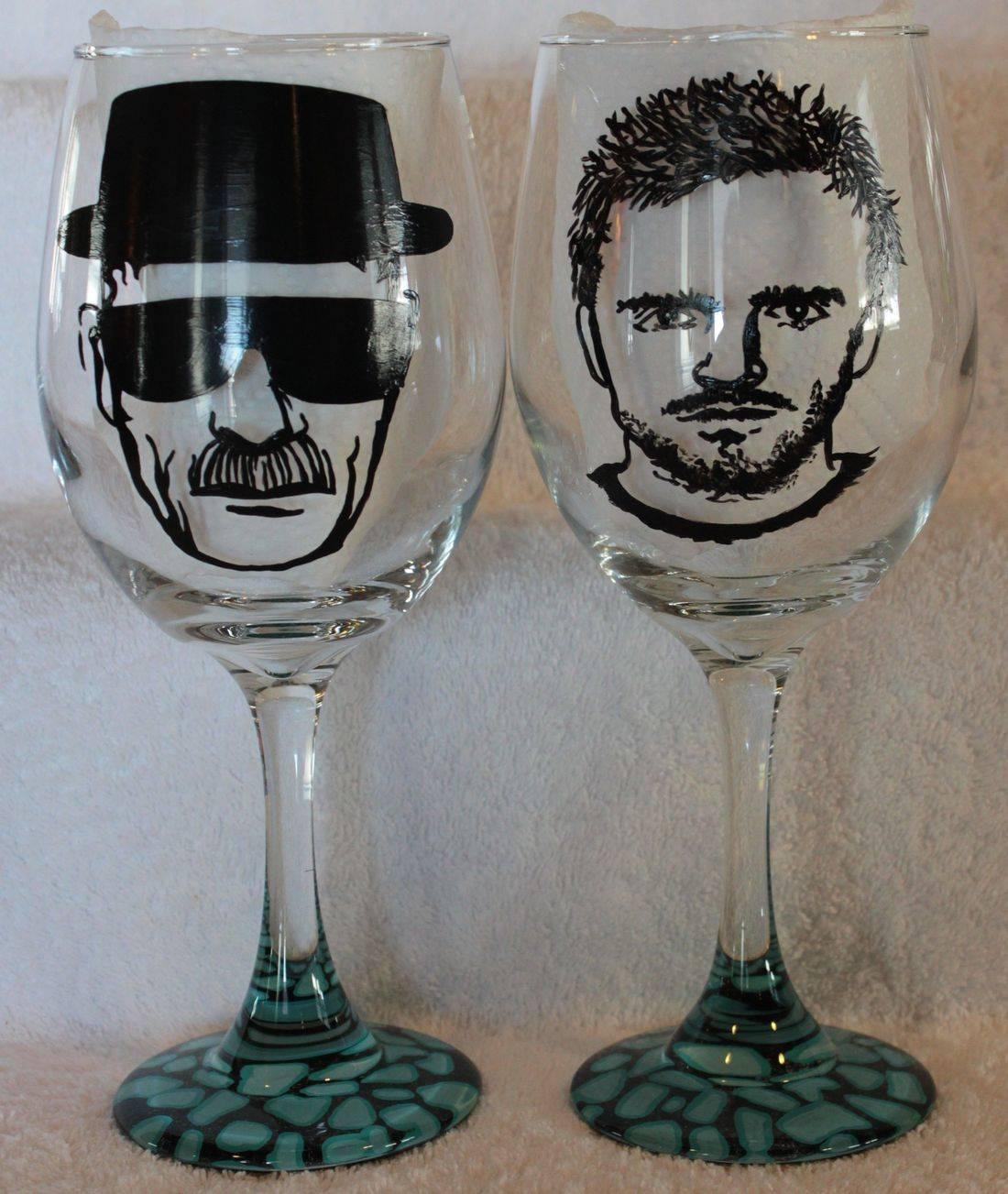 breaking bad wine glasses, walter white wine, jessie  wine glass