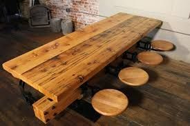 Long wooden indestrial table