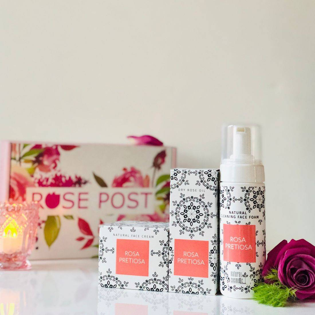 Rose Gift Box, Rosa Pretiosa, Holiday Gift Box,RosePost Spring Box, RosePost Box, Green Beauty Subscription, Rose Beauty Box, Green Beauty Box, Rose Skincare, Clean Rose Beauty