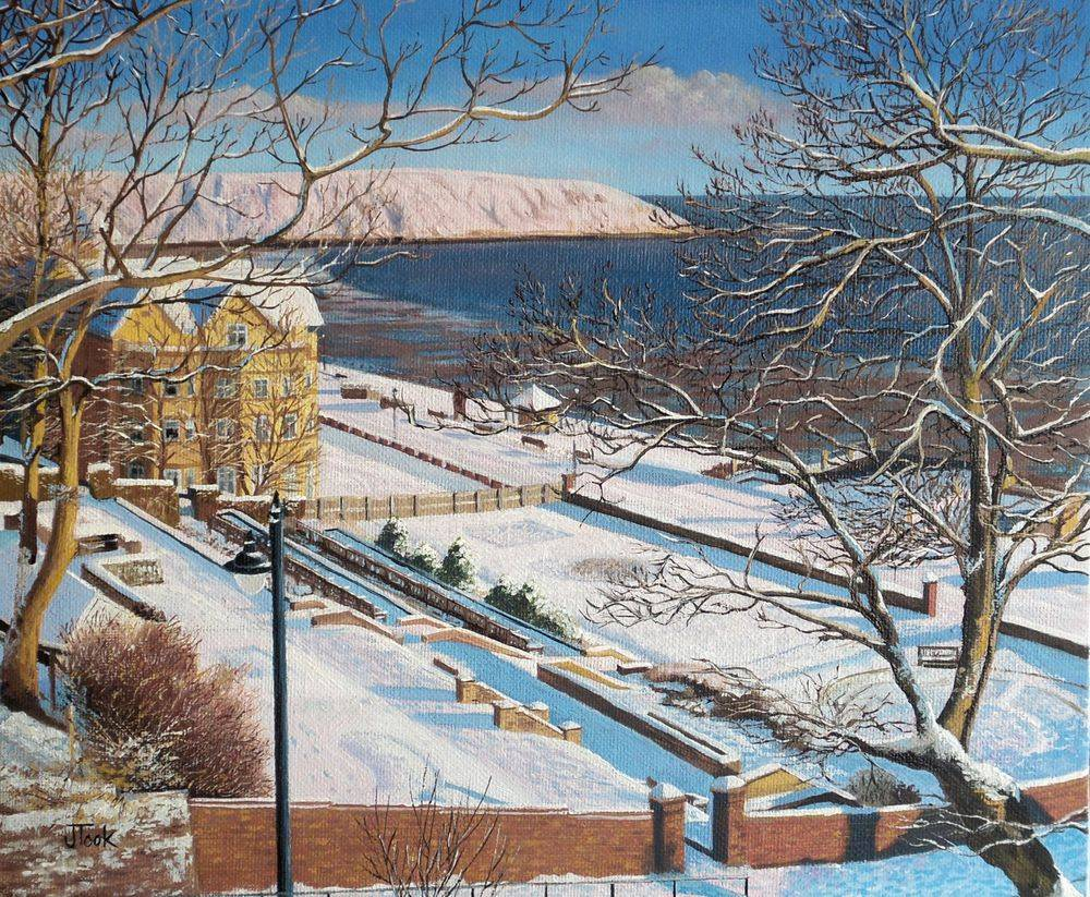 Filey North Yorkshire Snow Jane Took Art Painting