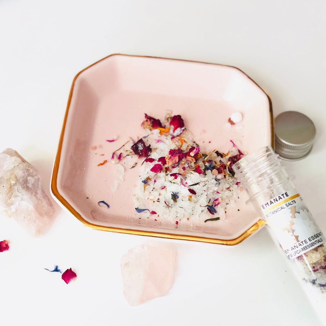 rosepost box, clean rose-infused beauty, bath salts, natural skincare, botanical skincare