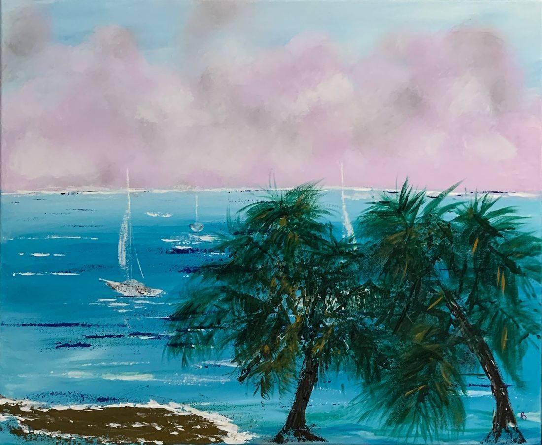 Vacation, palm trees, sailboats, ocean, beach, Oregon Artist, Abstract Artist, Local Artist, Hope Angel Fine Art