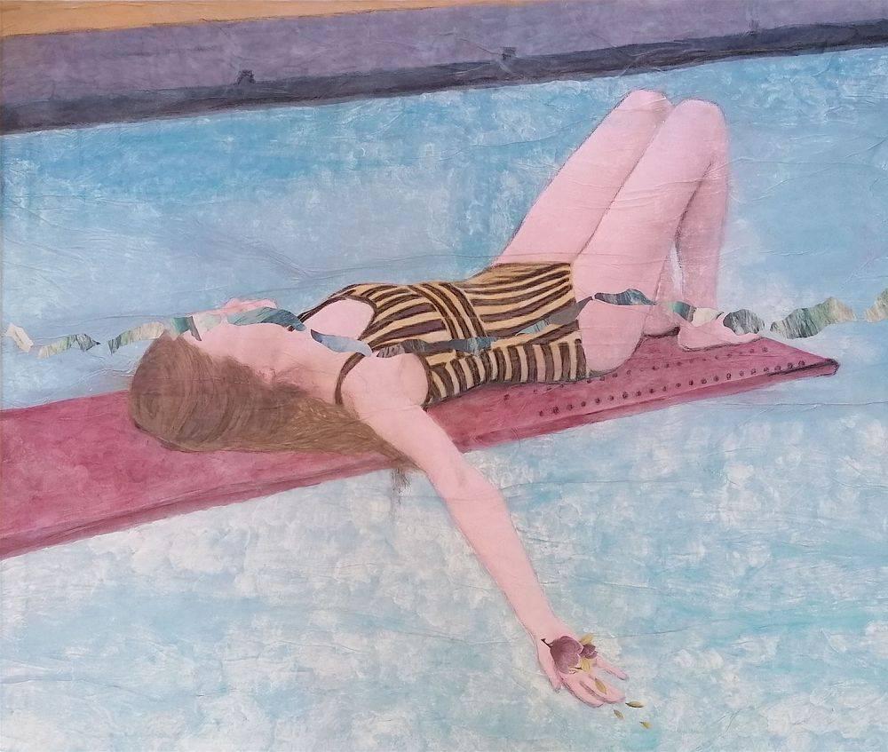 Aquarelle, Acrylique, Bleu, Histoire de l'art, Portrait, Femme, Mer, Magnolia
