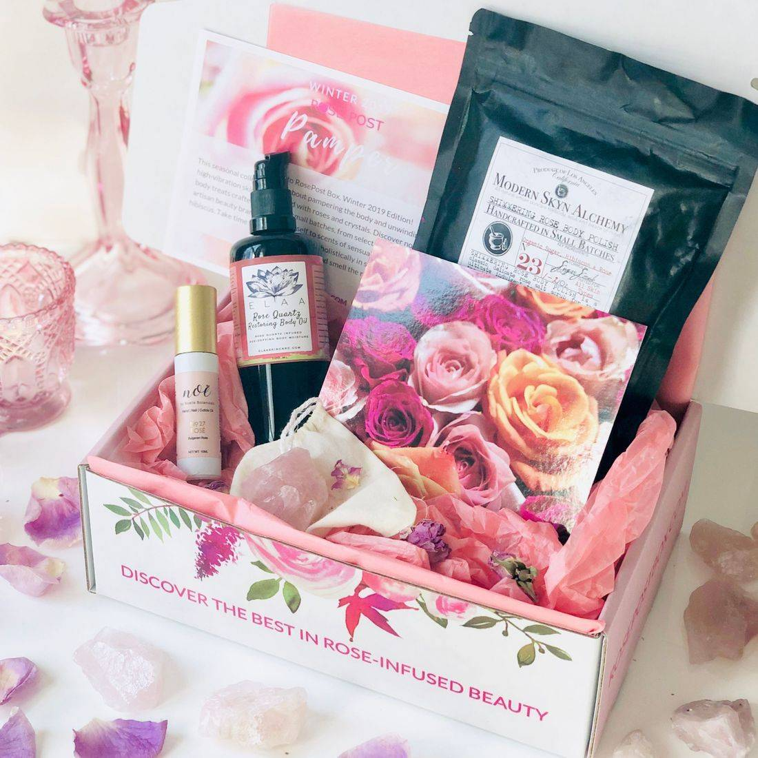 best rose-infused skincare valentine's day, crystal-infused skincare, rose beauty, best rose beauty, organic rose-infused pampering treats, rose beauty box