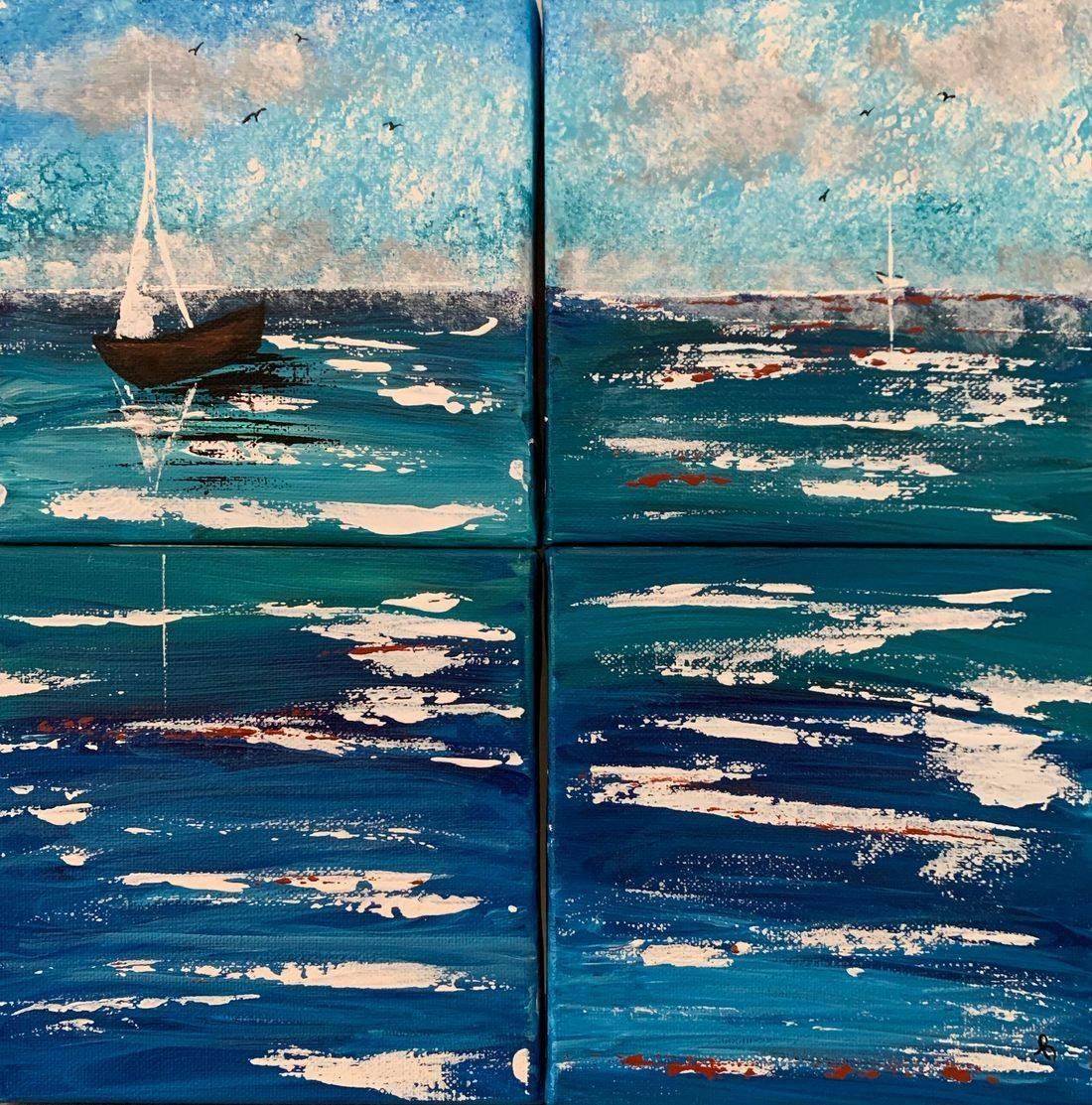 One Direction , sailboats, seagulls, Pacific Ocean, Oregon Coast, beach, ocean, cloudy skies, Oregon Artist, Abstract Artist, Local Artist, Hope Angel Fine Art