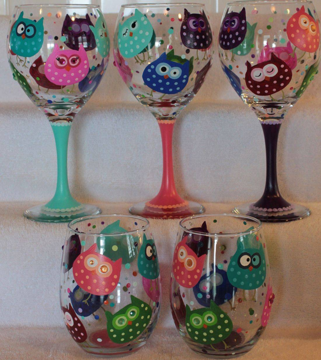 owl wine glass, owl water glass, owl beer glass