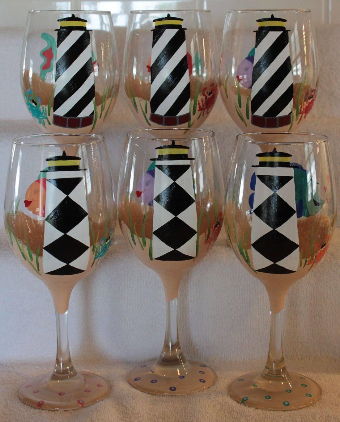 Beach wine glass, lighthouse wine glass
