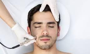 Man enjoying Microdermabracion at Facial Studio Brighton