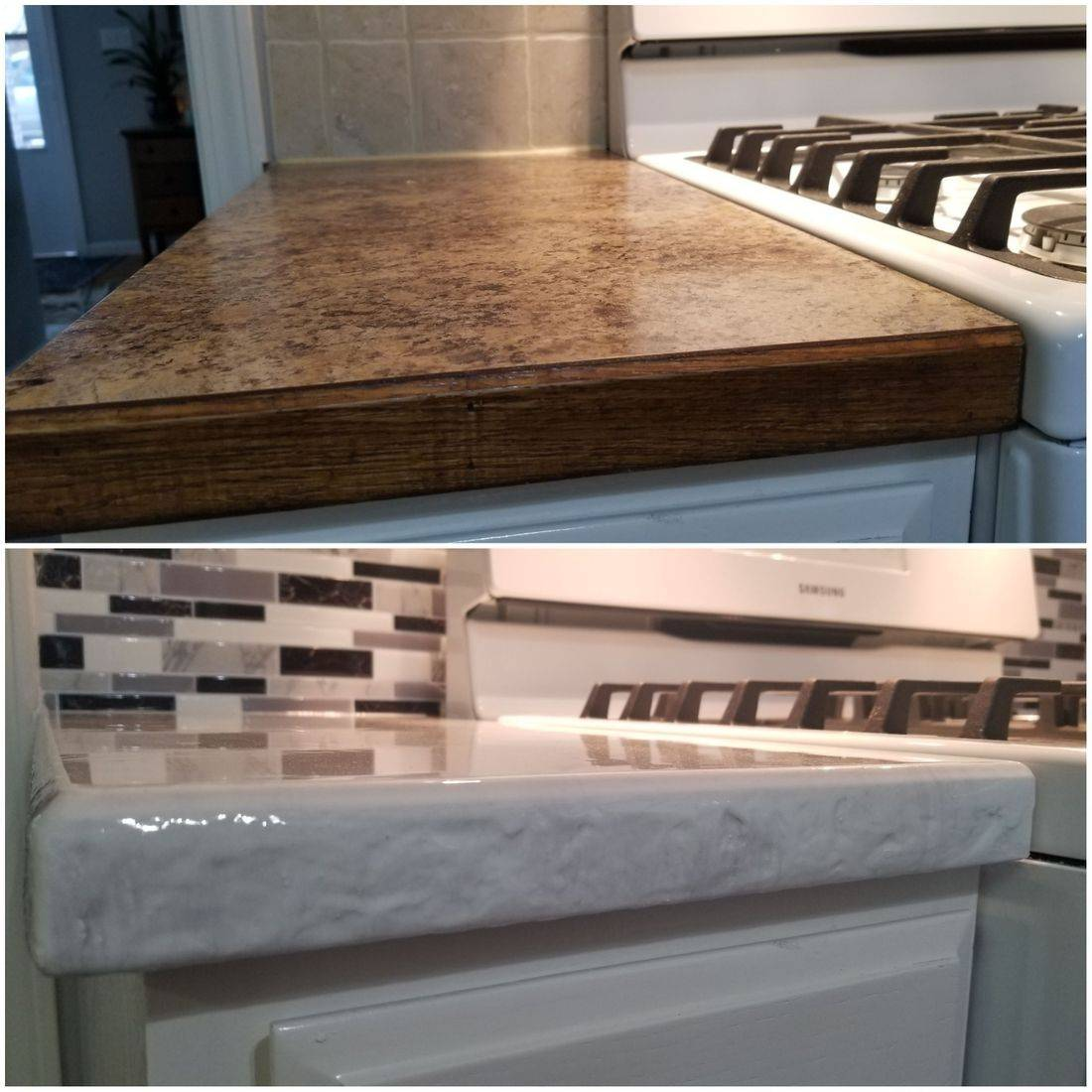 Before and after epoxy countertop