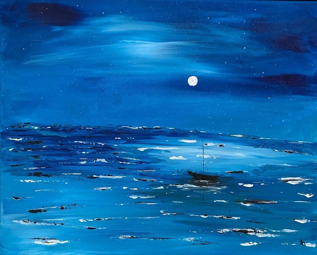 Starry Night, sailboat, black sailboat, full moon, stars in sky, Oregon Artist, Abstract Artist, Local Artist, Hope Angel Fine Art