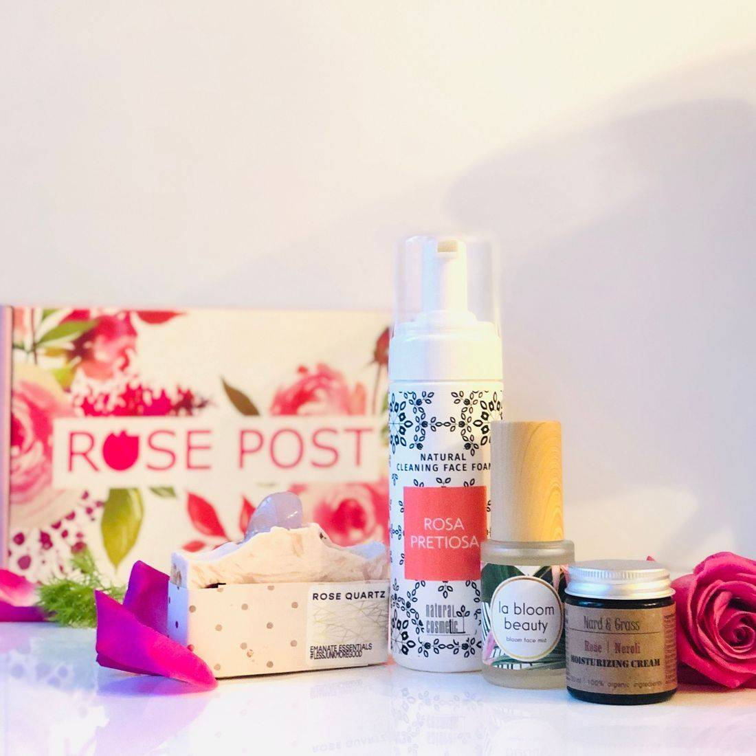 Rose Gift Box, clean rose beauty, rose skincare, beauty box, gift box, skincare routine