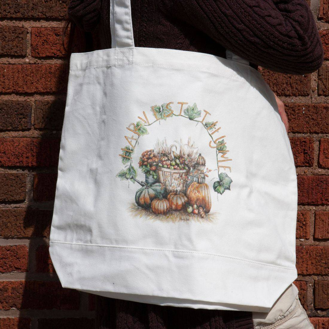 tote bag, harvest time, farm style, autumn, country, pumpkins, apples