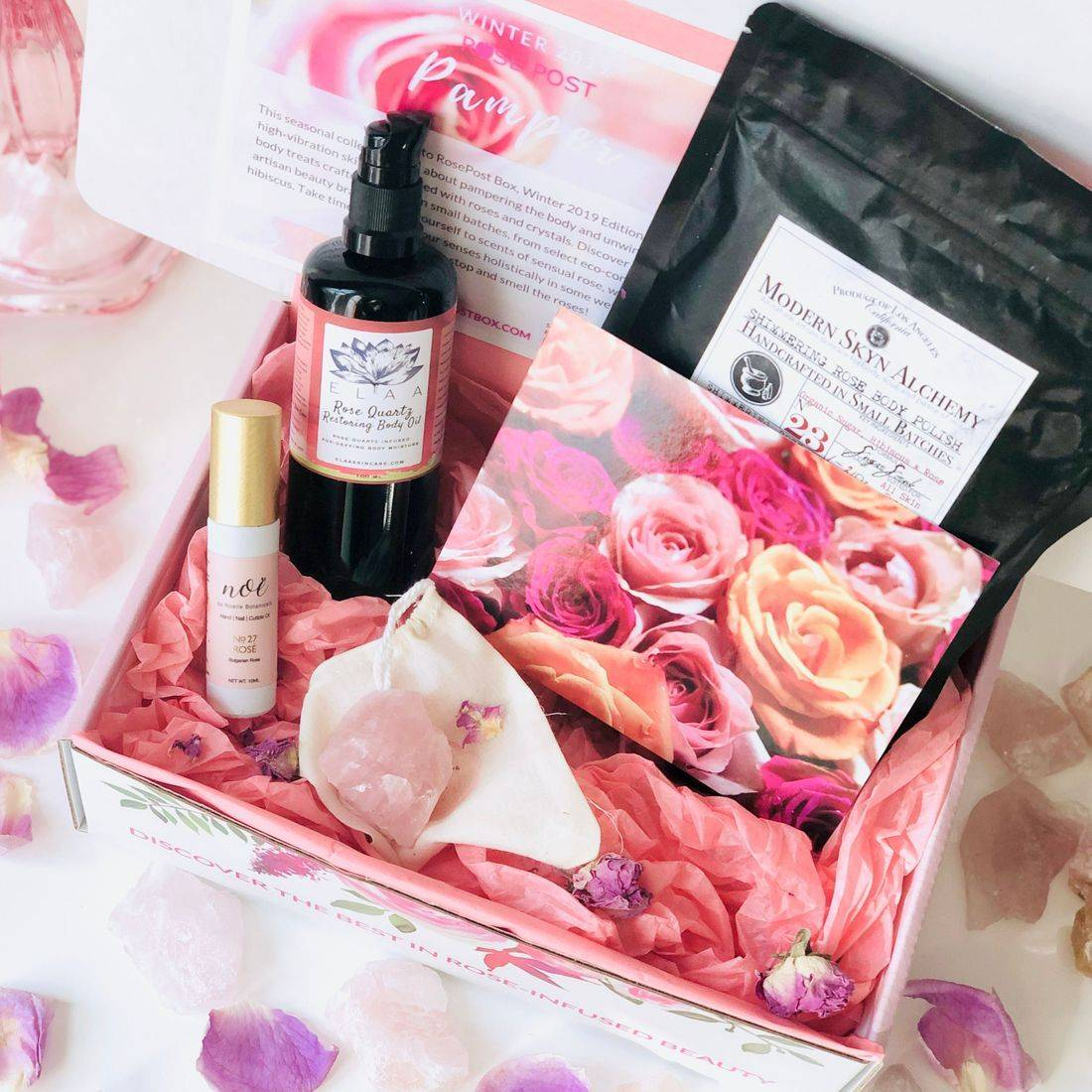 Best Rose-infused Skincare Valentine's Day, Clean Beauty Box, Aromatherapy Box, Bulgarian Rose Oil, Rose Oil, RosePost Fall Box, RosePost Box, Green Beauty Subscription, Rose Beauty Box, Green Beauty Box, Valentines Day Gift, Best Rose Skincare