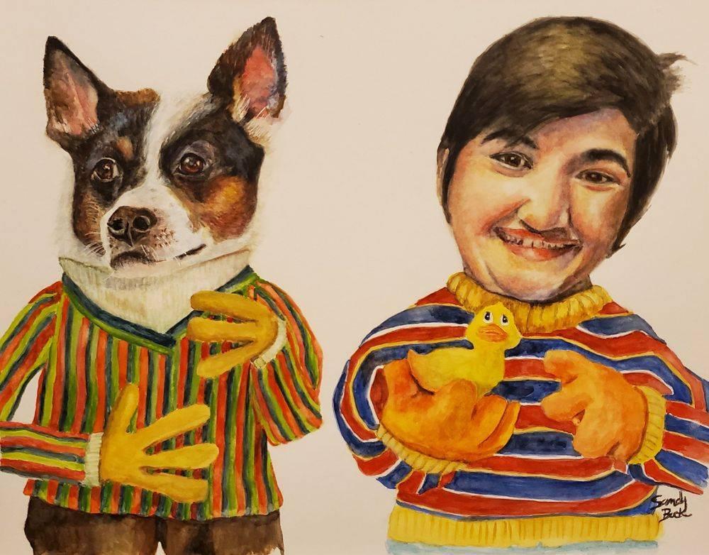 portrait art, pet portrait, bert and ernie, watercolor, pets, family