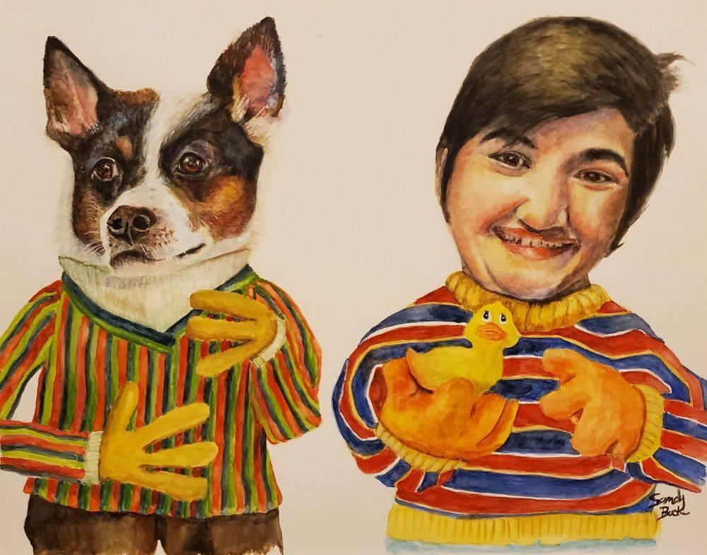 sandy bock, portrait artist, custom portraits, portrait illustration, custom art, watercolor art, family portrait, pet portrait