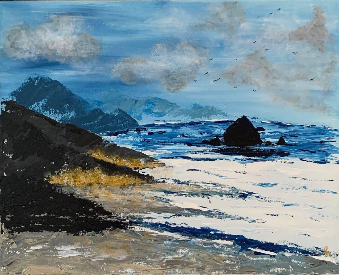 Day Off, blue ocean, Oregon Coast, Haystack Rock, seagulls, quiet evening, stormy sky,Oregon Artist, Abstract Artist, Local Artist, Hope Angel Fine Art
