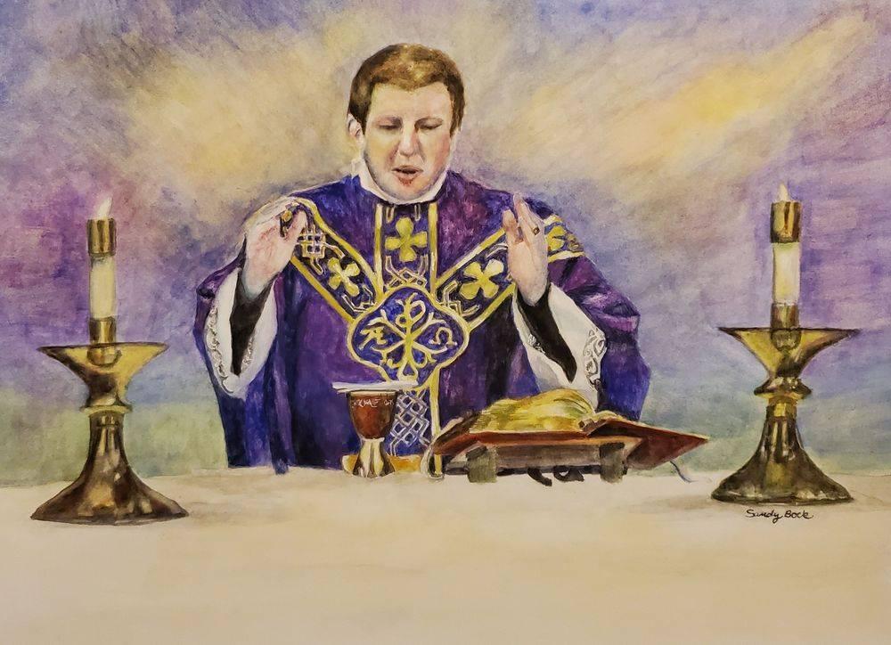 priest, portrait art, watercolor, catholic, church, pastor, christian art