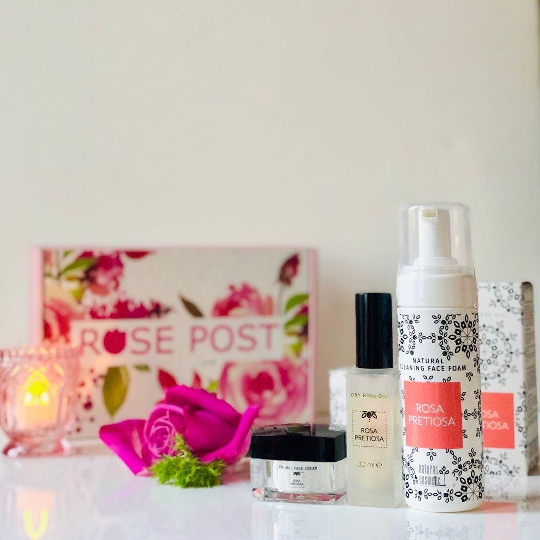 Rose Gift Box, Rosa Pretiosa, Holiday Gift Box,RosePost Spring Box, RosePost Box, Green Beauty Subscription, Rose Beauty Box, Green Beauty Box, Rose Skincare, Clean Rose Beauty