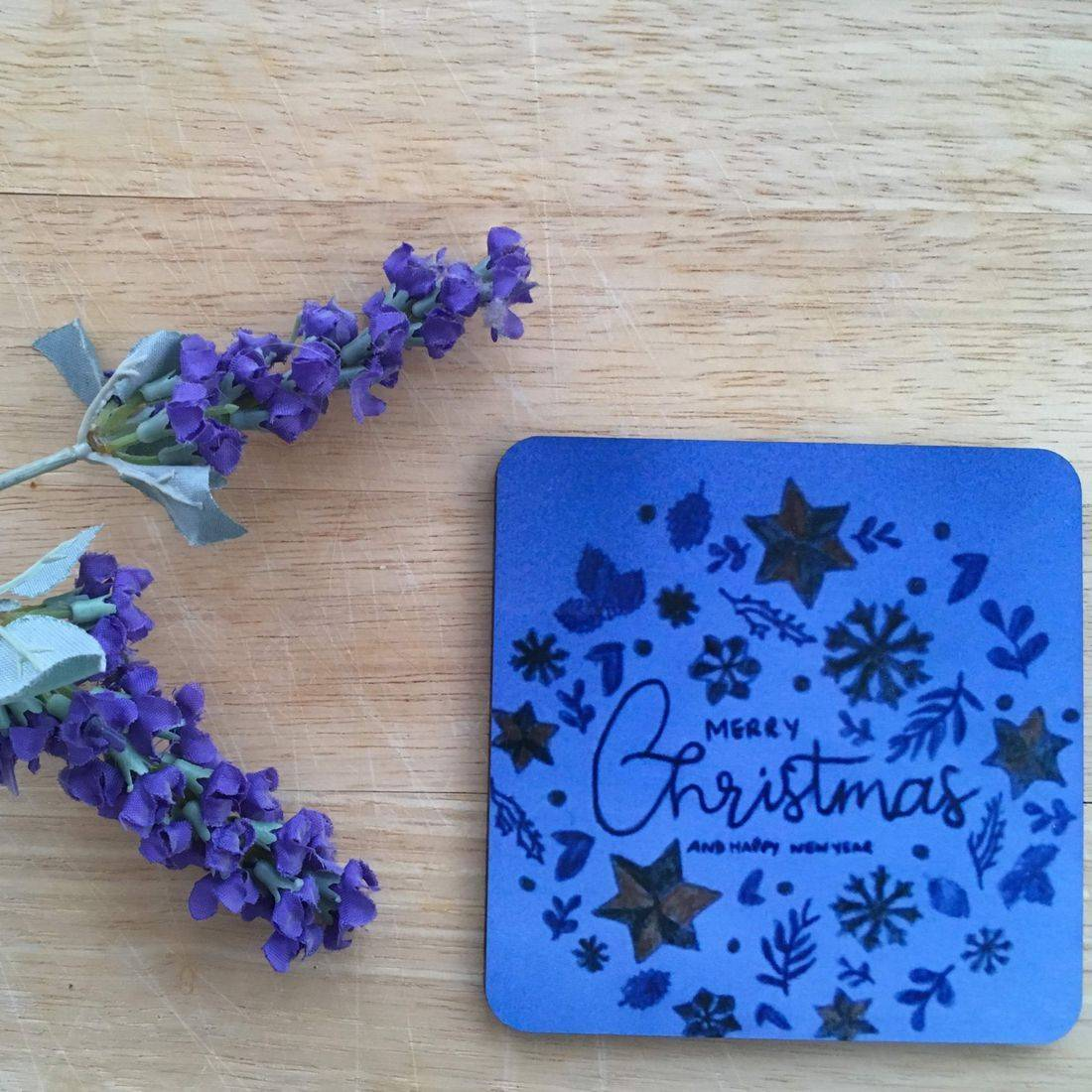 Blue Christmas Coaster