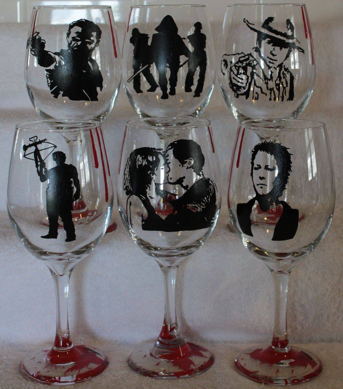 walking dead wine glass, rick wine glass, daryl wine glass, maggie wine glass, glen wine glass