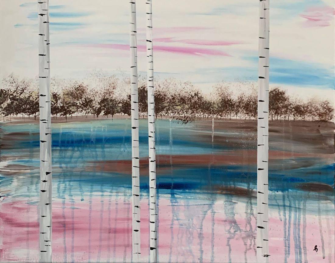 Through the Forest, birch trees, autumn, forest, lake, blue sky, Oregon Artist, Abstract Artist, Local Artist, Hope Angel Fine Art