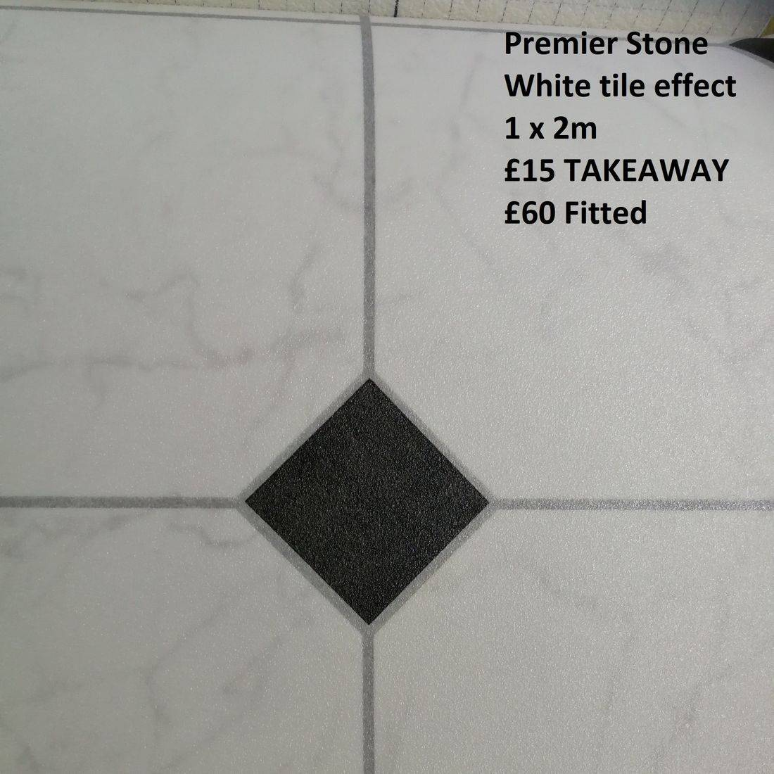 White tile with Black Diamond Vinyl Flooring