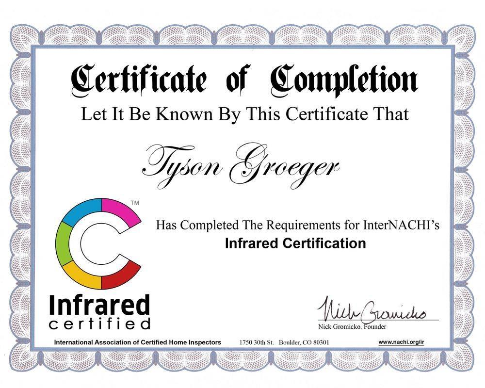 Infrared Certified Certificate