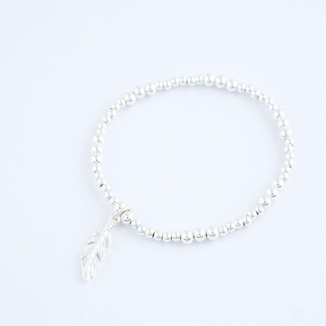 Charm Bracelet - Feather Charm, Stretch (BR88) £8.99