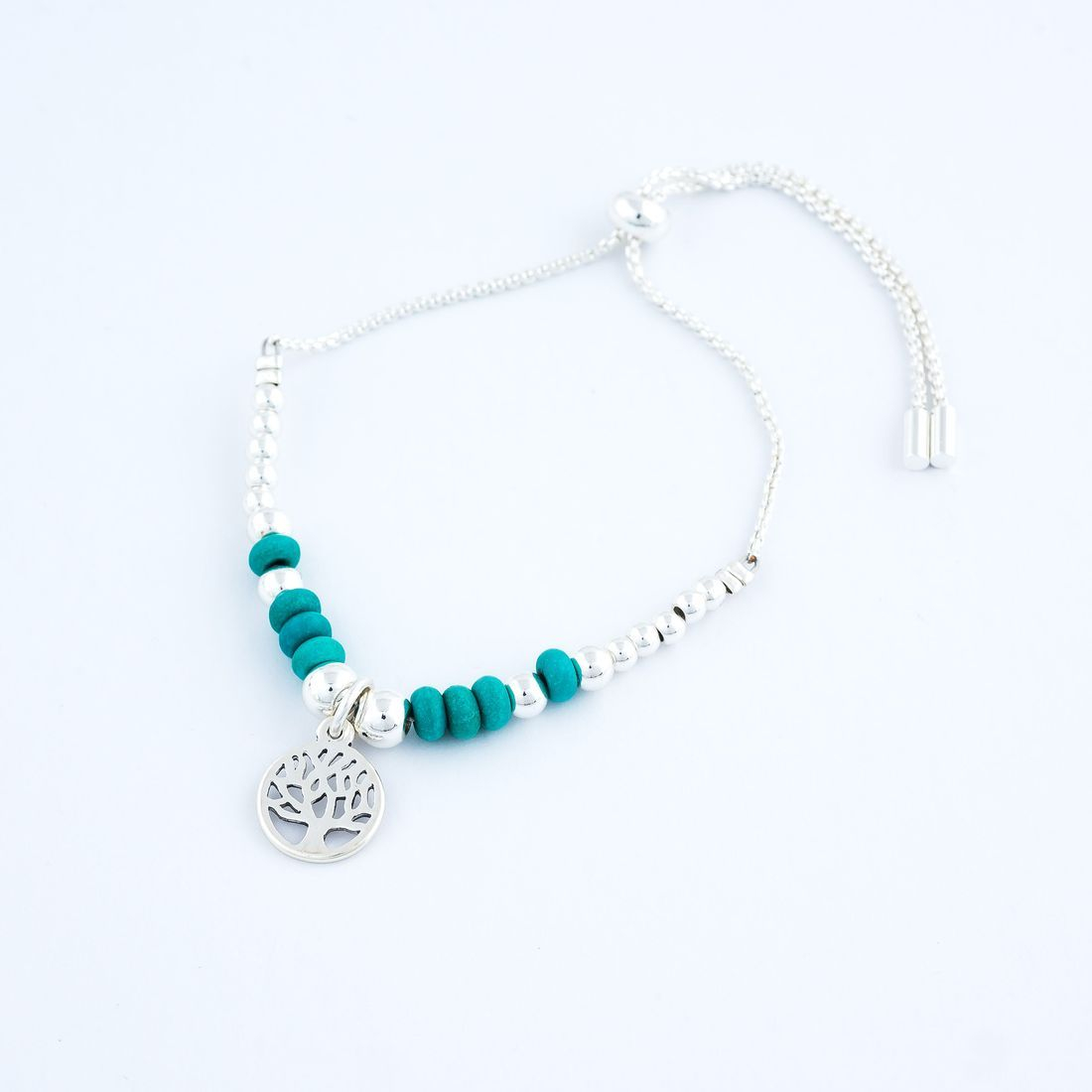 Charm Bracelet - Tree of Life with Sea Green Beads, adjustable (BR80)` £8.99