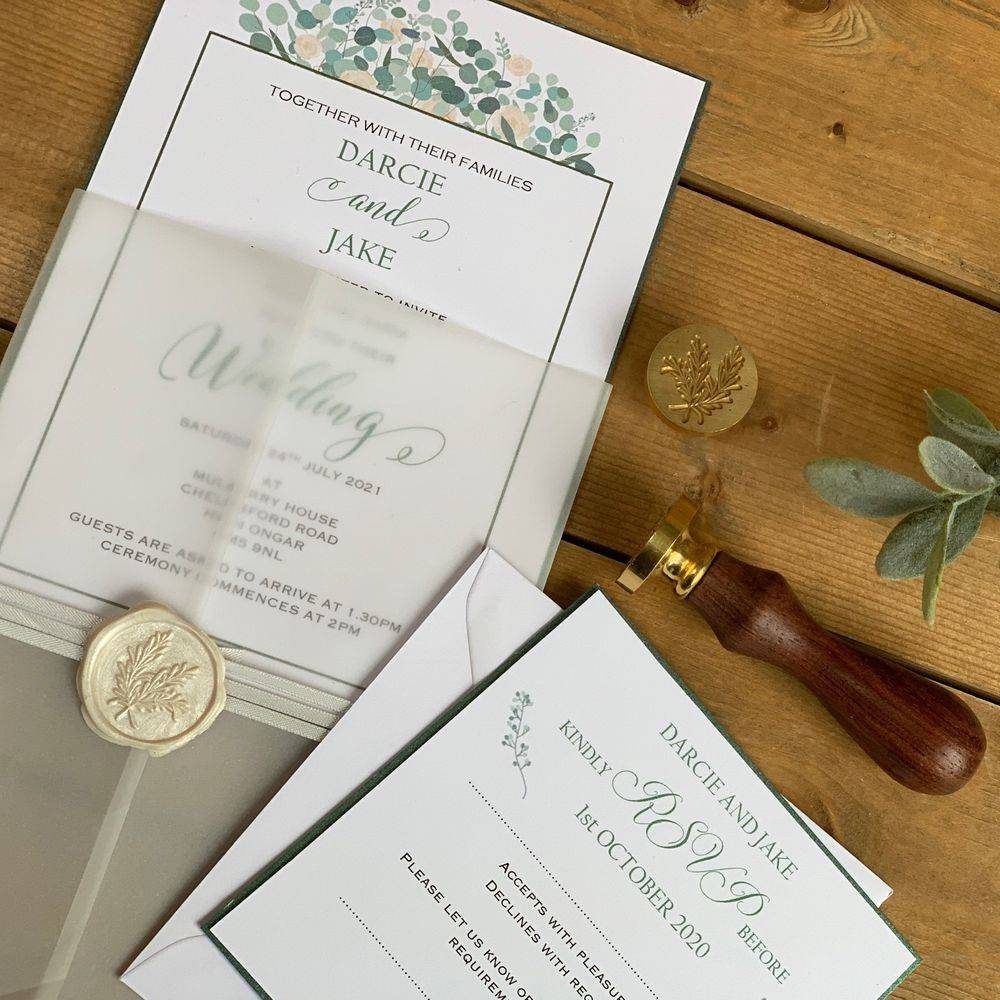 Ivory and Sage green, Eucalyptus wax seal Wedding Invitation