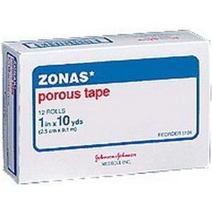 "Johnson & Johnson ZONAS® Porous Athletic Tape, Rubber Based Adhesive, Cotton Cloth Backing, Porous Construction 1"" x 10 yds"